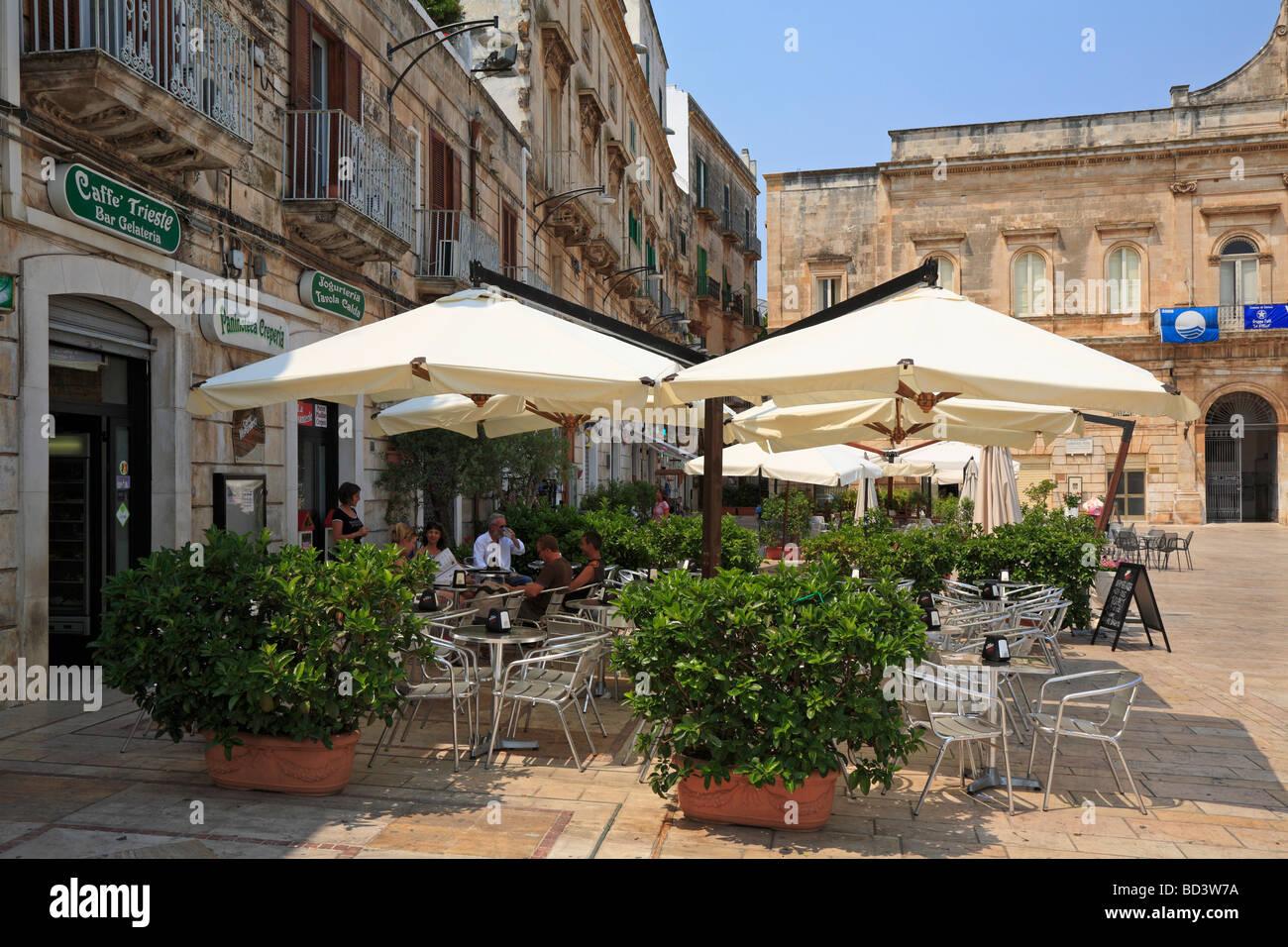 Caffe' Trieste, Piazza della Liberta, Ostuni, Puglia, Italy. Stock Photo