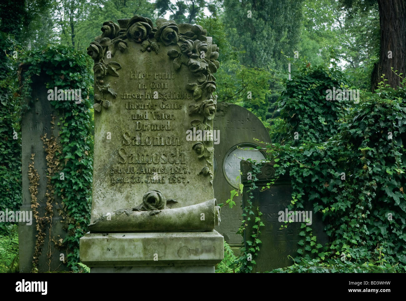 Art Nouveau tombstones at Jewish Cemetery in Wrocław Lower Silesia region Poland - Stock Image