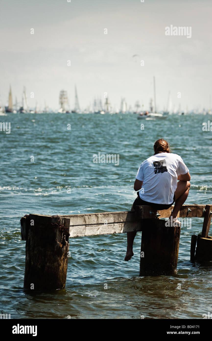 Spectator watching tall ships Cutty Sark Gdynia, Poland 05.07.2009 - Stock Image