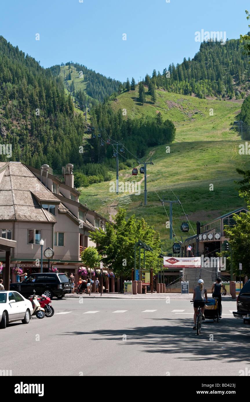 Entrance to Silver Queen Gondola base station in Aspen Colorado on Ajax Mountain - Stock Image