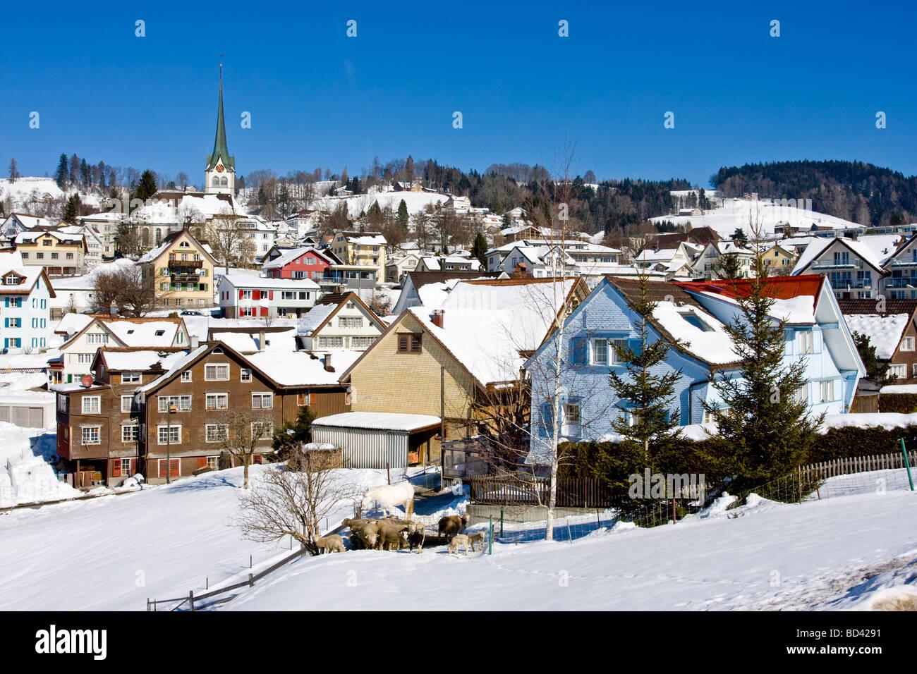 Winter View Of Teufen Appenzell Ausserrhoden Village