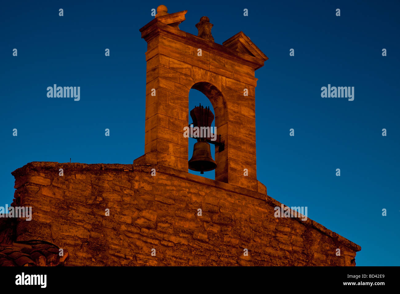 Church tower and bell in Gordes Provence France - Stock Image