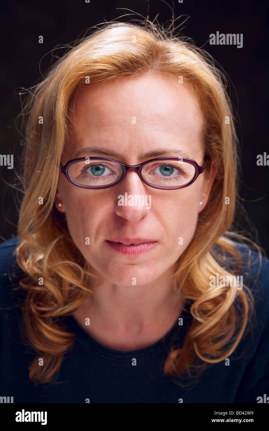 Portrait of a geek woman - Stock Image