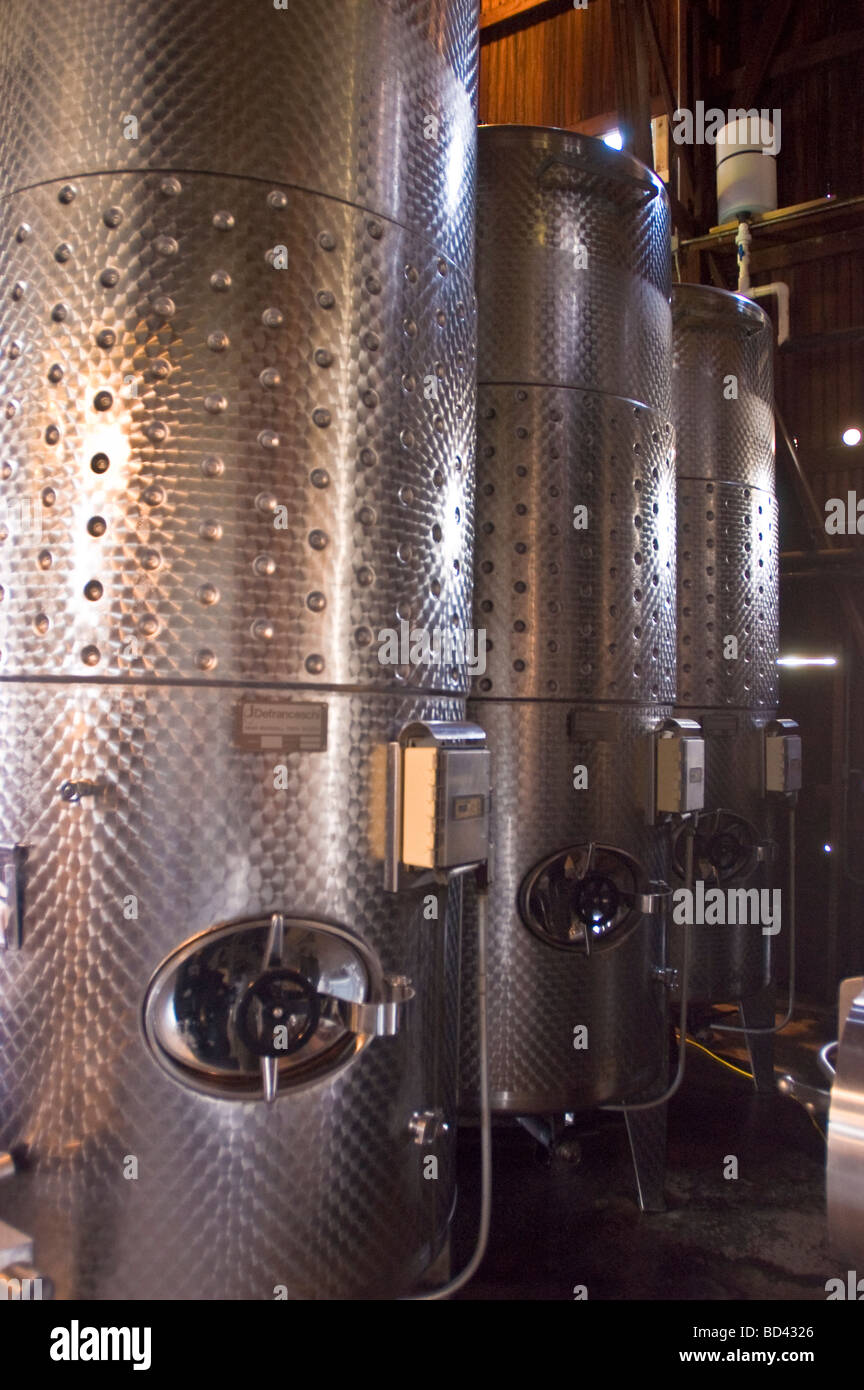 Stainless steel vats for wine production in Finger Lakes winery, Cayuga lake, New York, USA Stock Photo