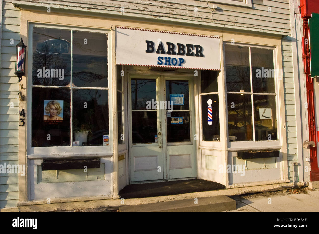 Barber Shop, Trumansburg, , Finger Lakes region, New York, NY, USA, US, United States Stock Photo