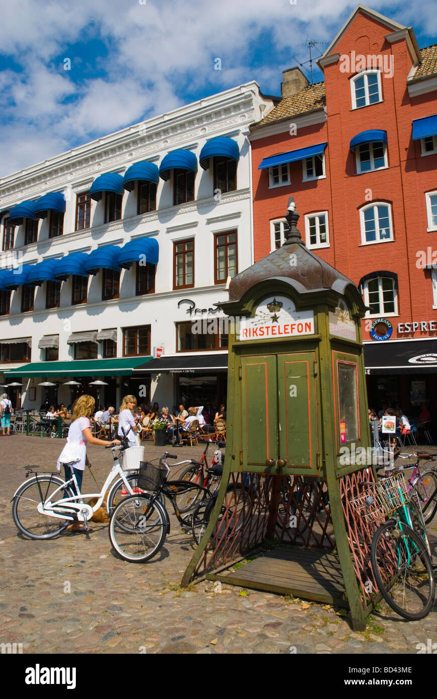Rikstelefon telephone box at Lilla torg square in Gamla Staden the old town Malmö Skåne Sweden Europe - Stock Image