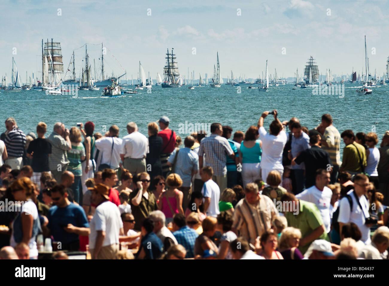 Spectators watching tall ships Cutty Sark Gdynia, Poland 05.07.2009 - Stock Image