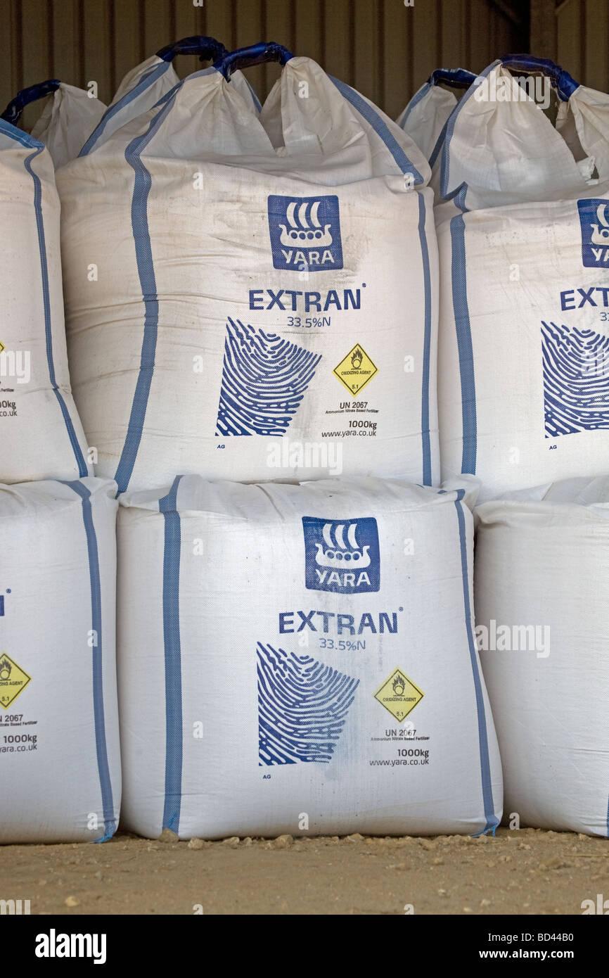 Nitrogen Fertilizers Stored In A Farmers Barn - Stock Image