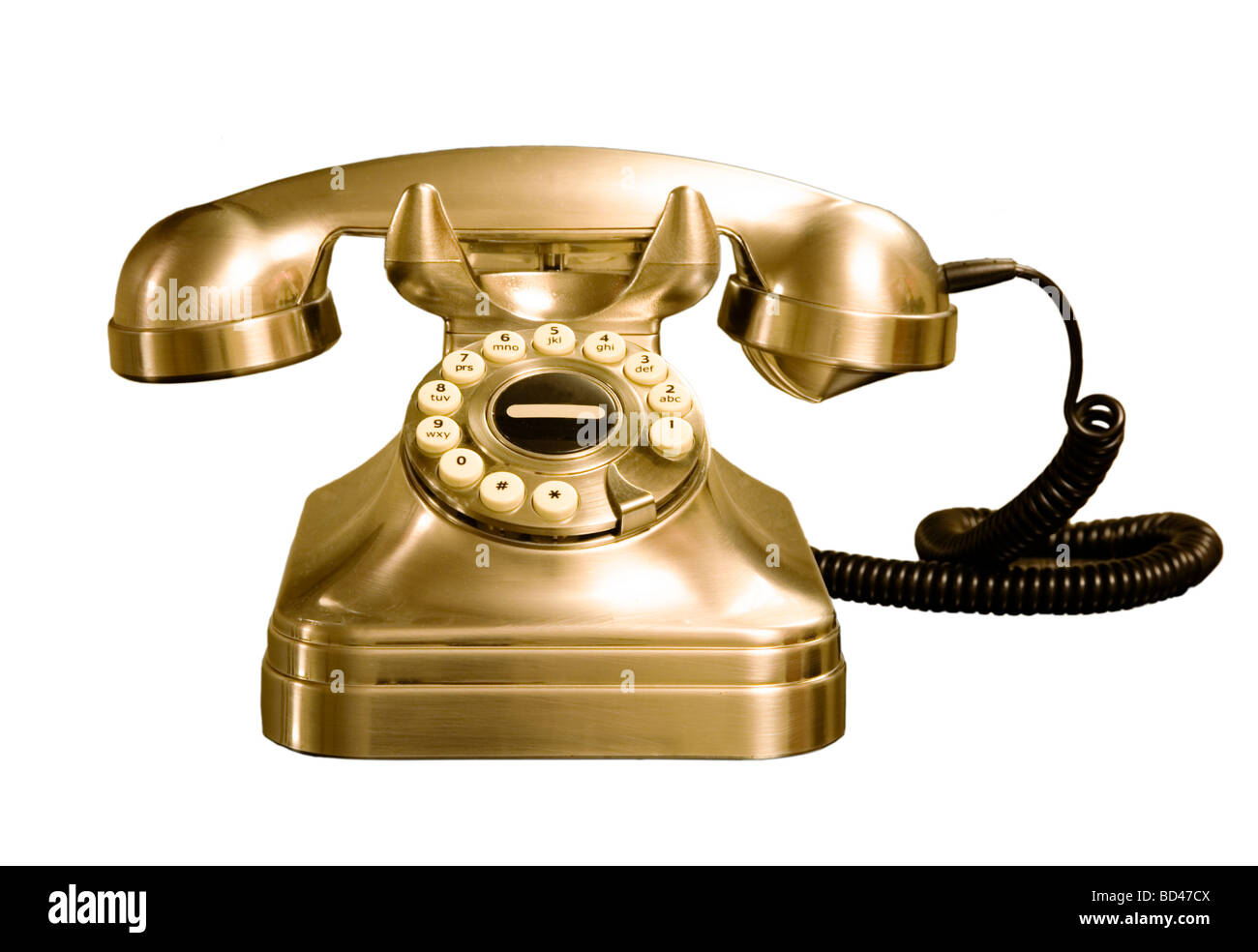 Retro rotary style telephone isolated against a white background with clipping path - Stock Image