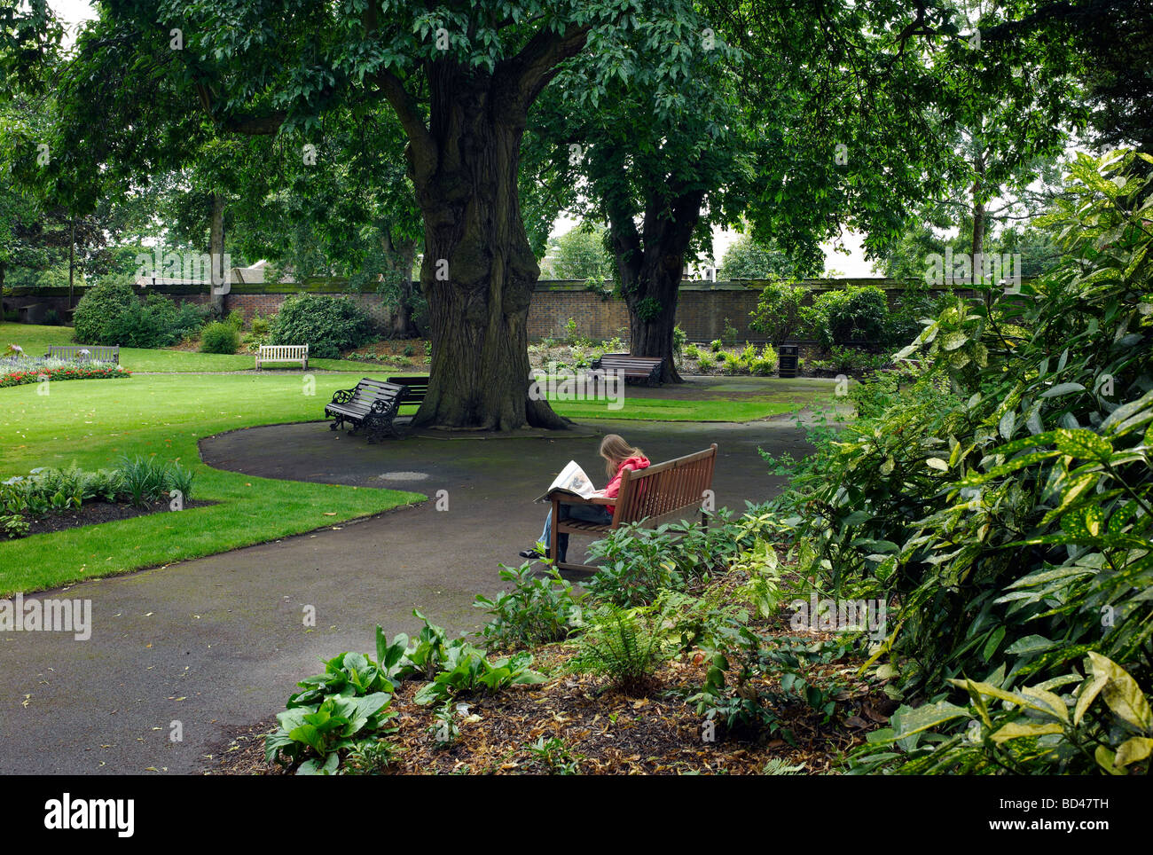 A woman reading in a secluded park in Warwick, UK - Stock Image
