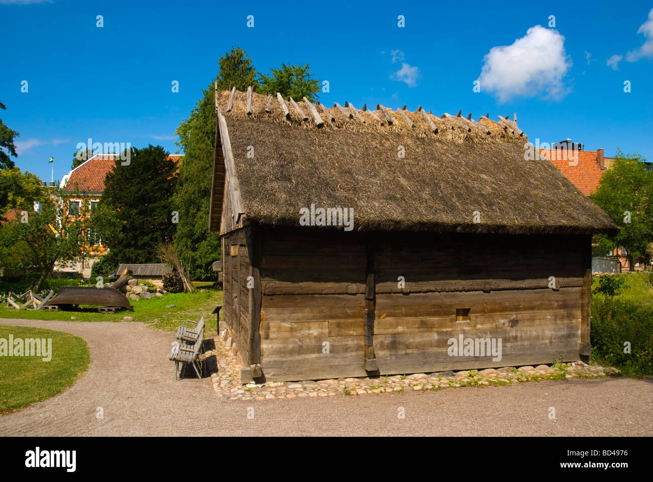The Goathouse at Kulturen the open air museum in Lund Skåne Sweden Europe - Stock Image