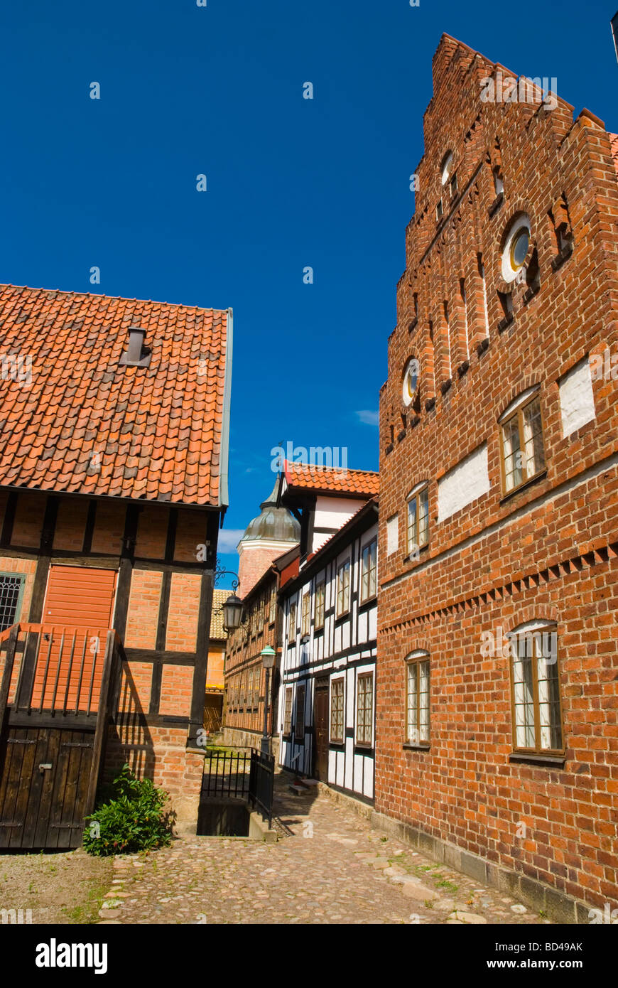 Historical houses at Kulturen the open air museum in Lund Skåne Sweden Europe - Stock Image