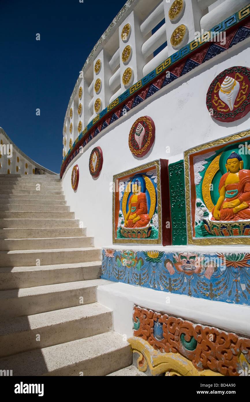 Details of Shanti Stupa, Changspa village in Leh. Ladakh Stock Photo