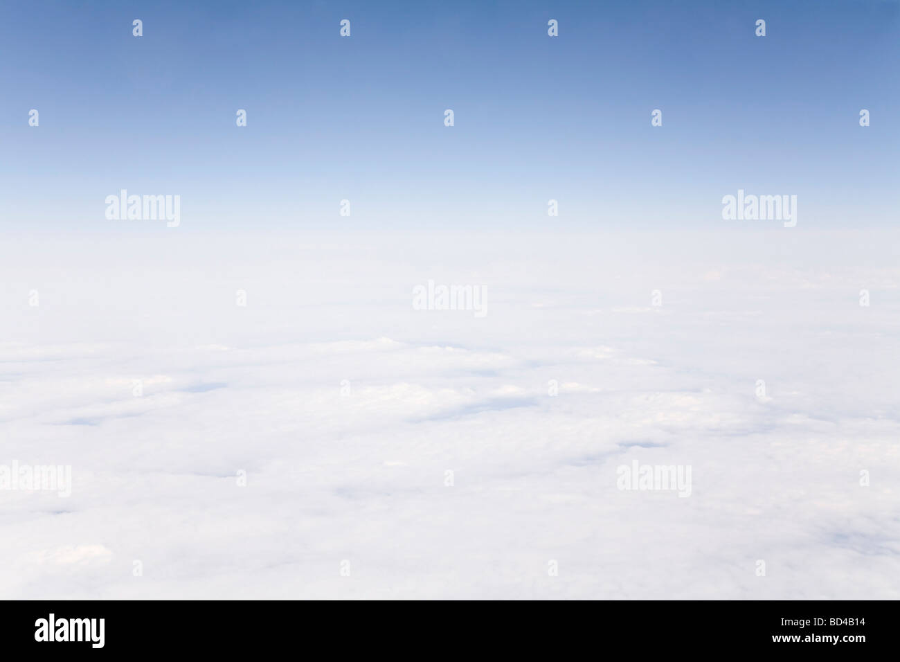 Cloud formations, skyline and stratosphere taken from high altitude - Stock Image