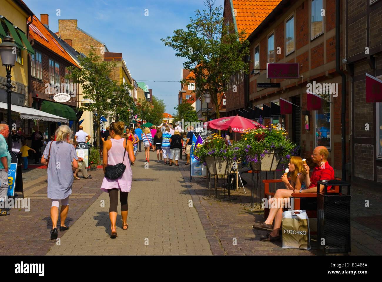 Stora Östergatan shopping street in central Ystad Skåne Sweden Europe - Stock Image
