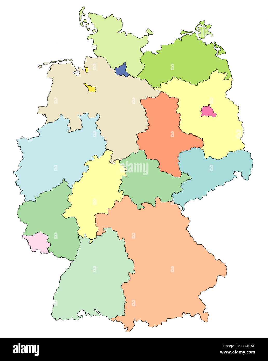 Germany map with States Stock Photo: 25298406 - Alamy