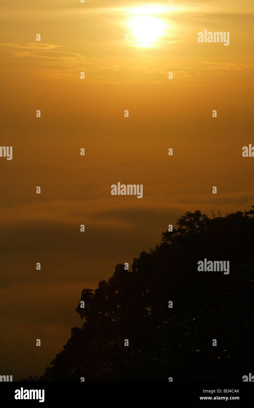 Beautiful sunrise in the pristine rainforest, seen from Cerro Pirre in Darien national park, Darien province, Republic of Panama. Stock Photo