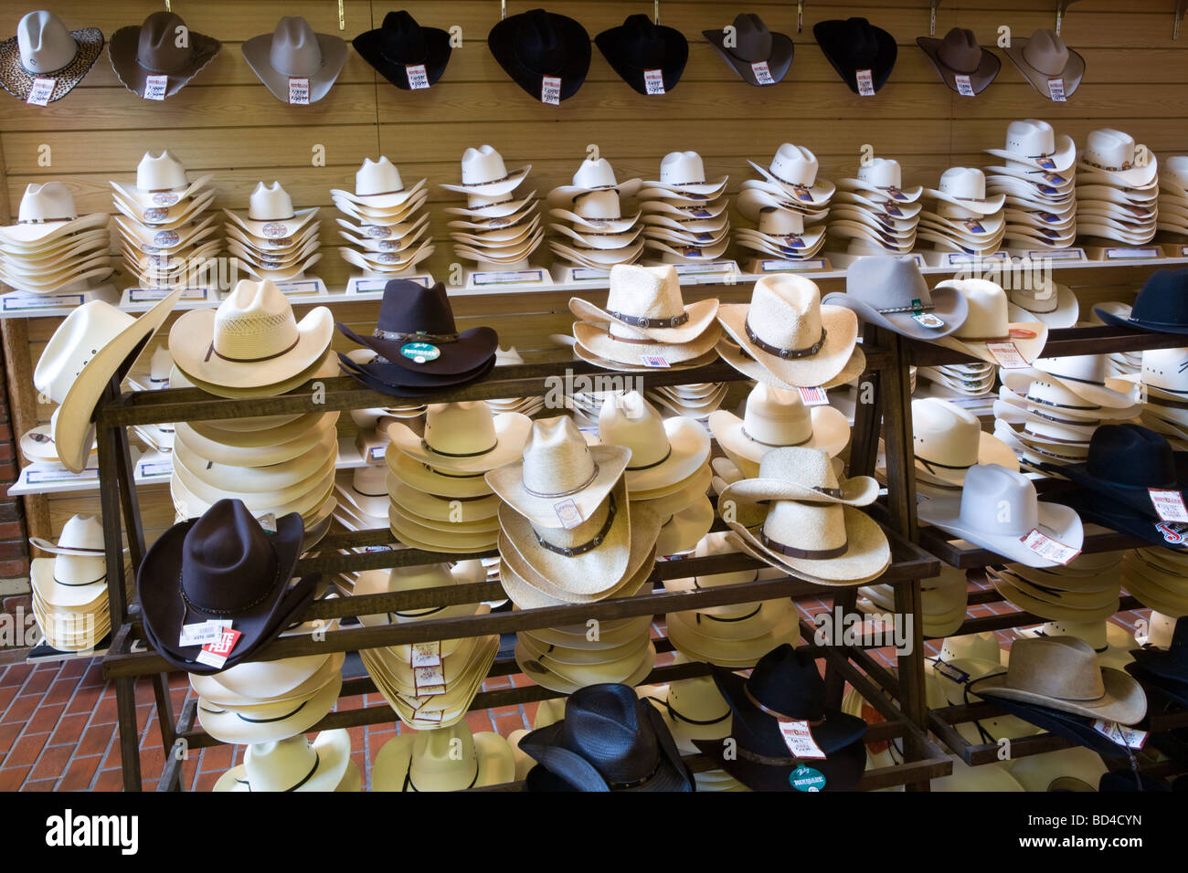 abbc4508c7d71 Cowboy hats for sale at the Wrangler western wear store in Cheyenne Wyoming  - Stock Image