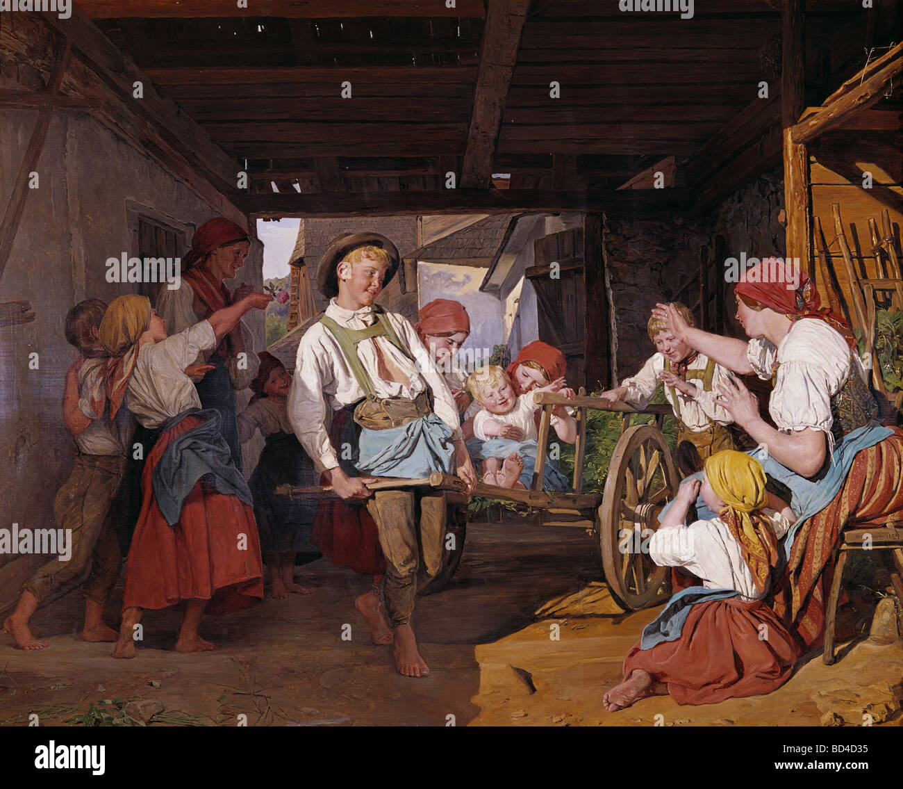 fine arts, Waldmueller, Ferdinand Georg (1793 - 1865), painting, 'Hansel's erste Ausfahrt' (Hansel's - Stock Image