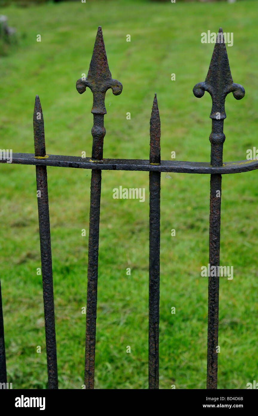 Iron railings by St. Peter`s Church, Church Lawford, Warwickshire, England, UK - Stock Image