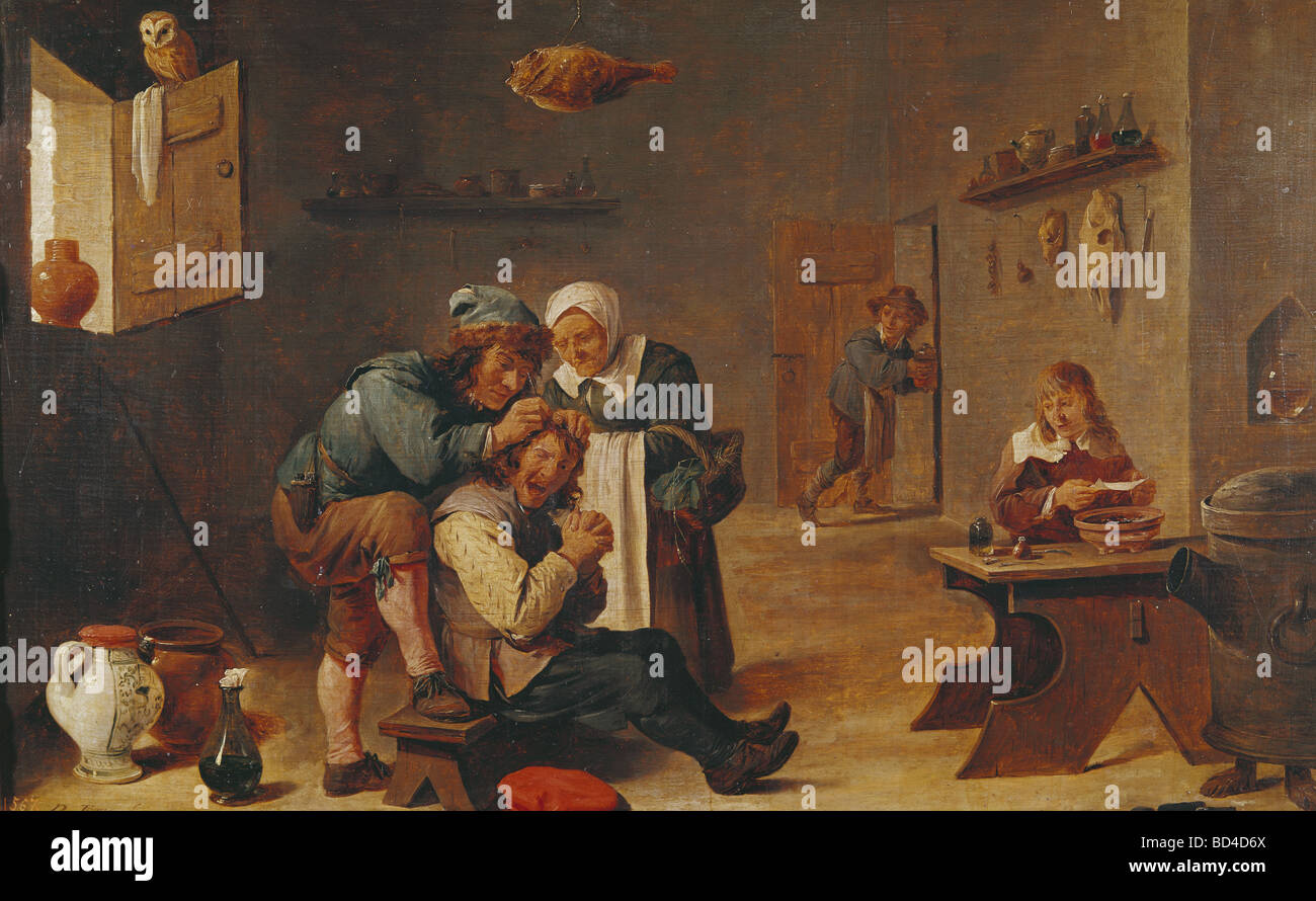 Teniers, David the Younger (1610 - 1690), painting, 'Surgical Operation', 61 x 38 cm, oil on panel, Prado, - Stock Image
