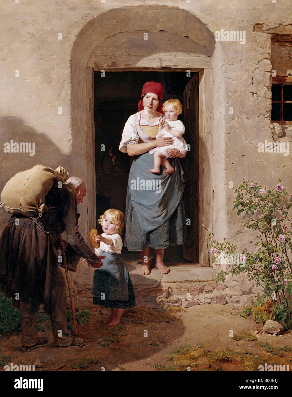 fine arts, Waldmueller, Ferdinand Georg (1793 - 1865), painting, 'Der Bettler' (The Beggar), von der Heydt - Stock Image