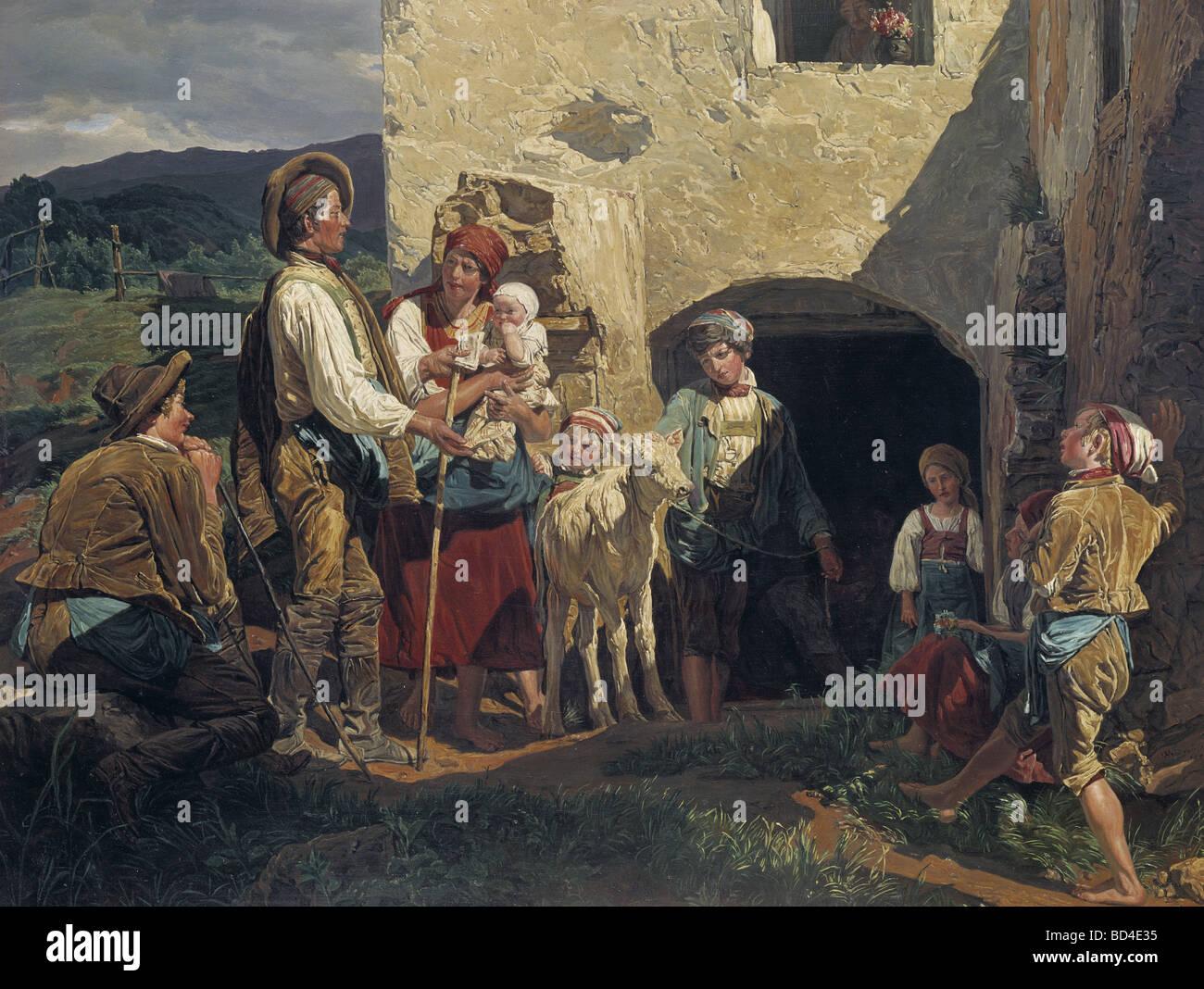 fine arts, Waldmueller, Ferdinand Georg (1793 - 1865), painting, 'Der Notverkauf (Das letzte Kalb)' (The - Stock Image