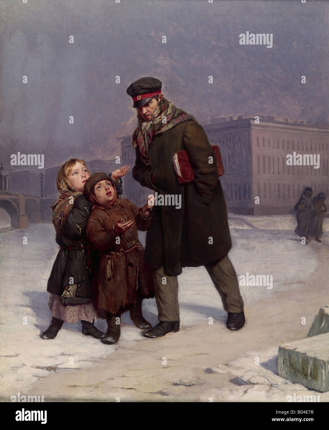 fine arts, Shuravlyov, Firs (1836 - 1901), painting, 'Begging Children', Russian Museum, Saint Petersburg, - Stock Image