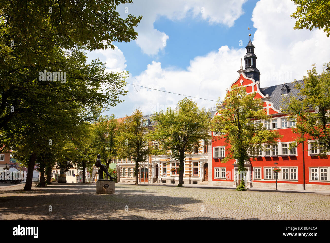 Arnstadt Market Place Thuringia Germany with JS Bach statue - Stock Image