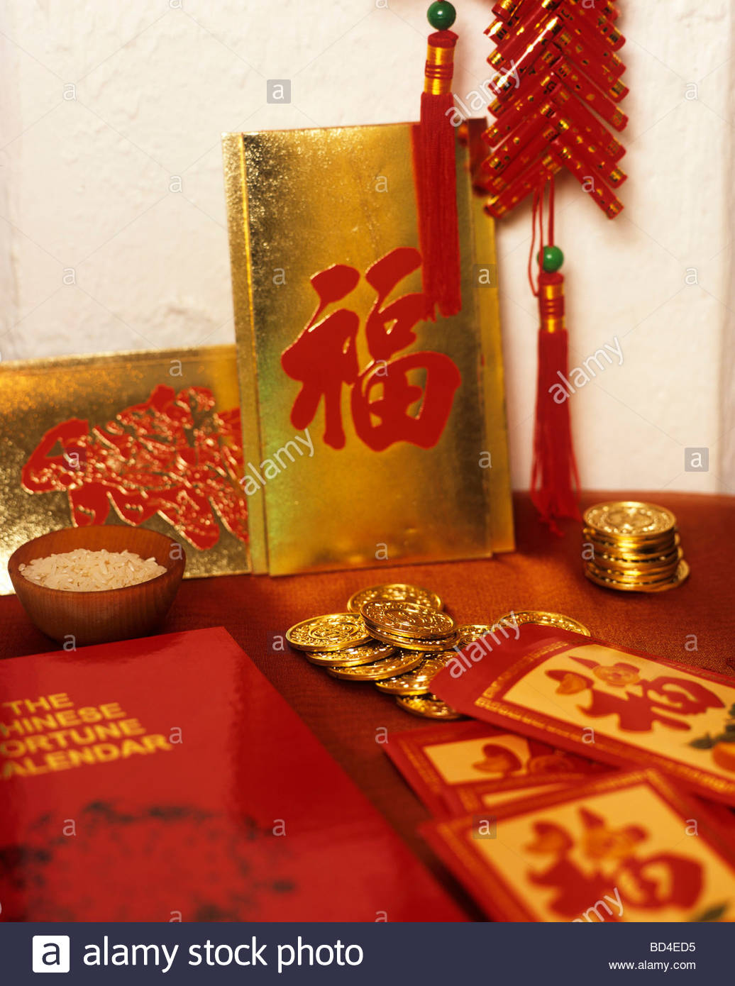 Chinese Good Luck Symbols For New Year Gold Coins Rice Stock