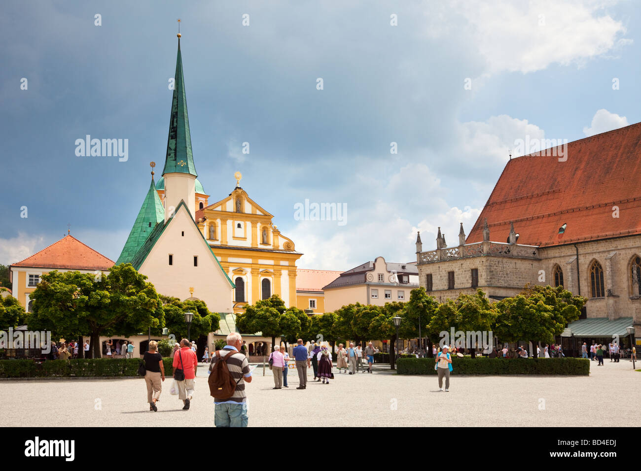 Chapel of the Miraculous Image and Church of St Magdalene in Kapellplatz Square in Altotting, Bavaria, Germany, Stock Photo