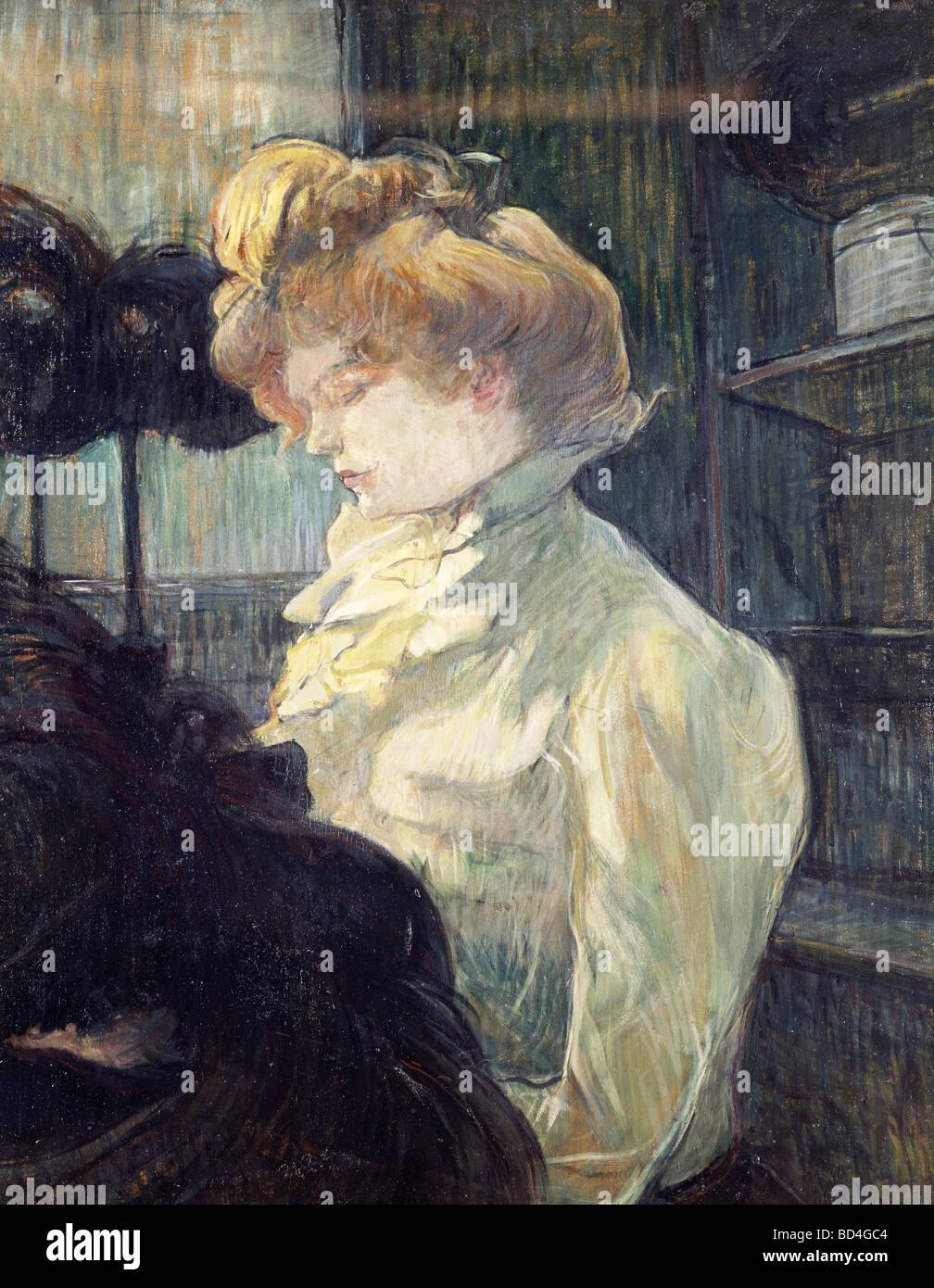 fine arts, Toulouse-Lautrec, Henri de (1864 - 1901), painting, 'La Modiste', 1900, Museum Albi, Europe, - Stock Image