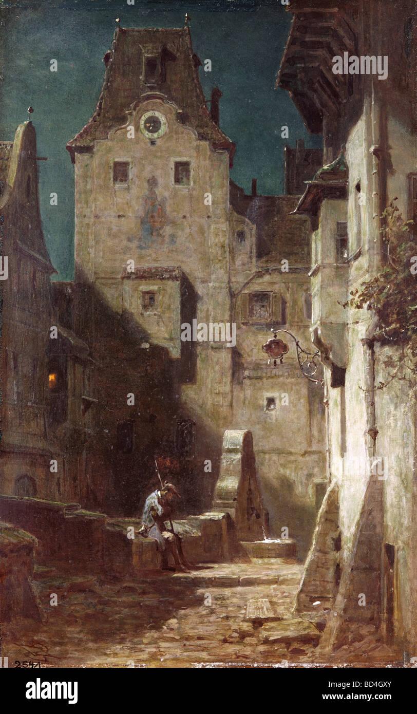 "fine arts, Spitzweg, Carl (1808 - 1885), painting, ""The Sleeping Night Watchman"", 1875, Museum Heidelberg, Germany, Stock Photo"