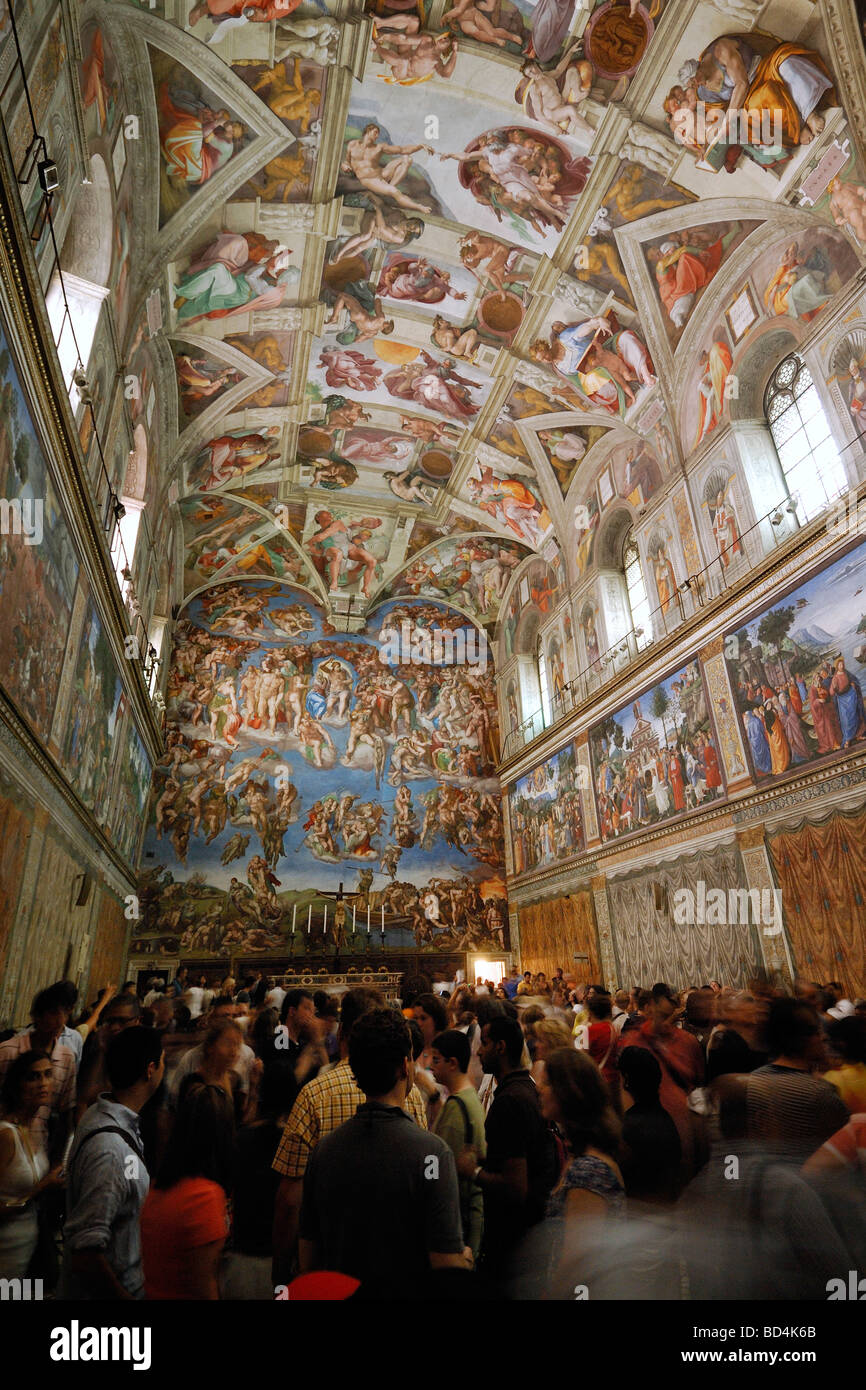 Rome Italy Tourists Crowd The Sistine Chapel In The