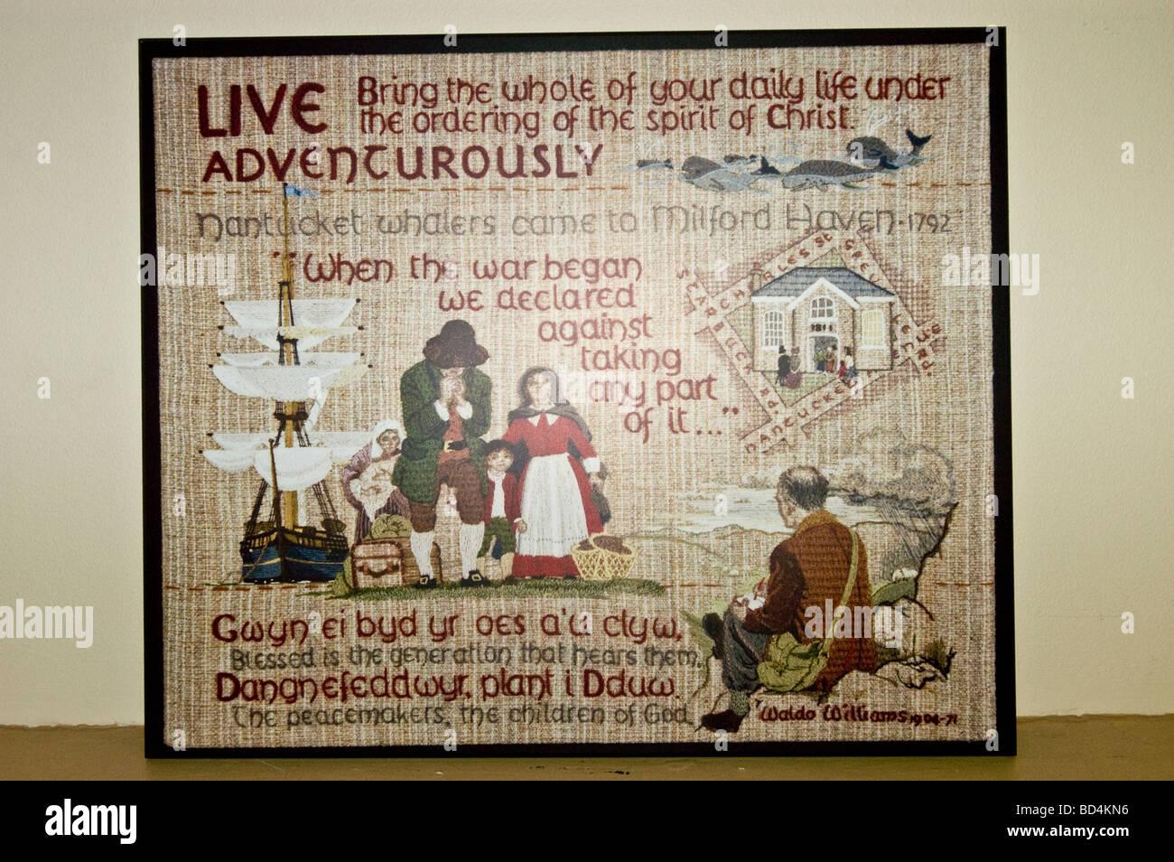 Quaker wall poster inside Quaker House in Dartmouth, Halifax, Nova Scotia, Canada - Stock Image