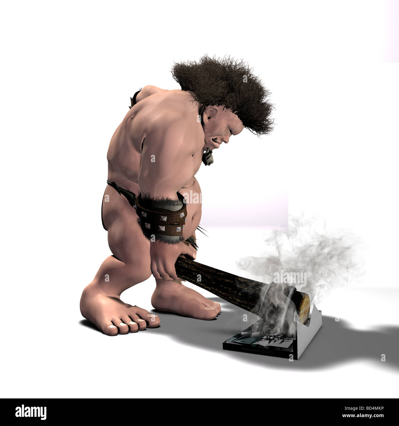 A One-Eyed Caveman 'repairing' his new laptop. He seems to have gotten frustrated with the operating system. - Stock Image