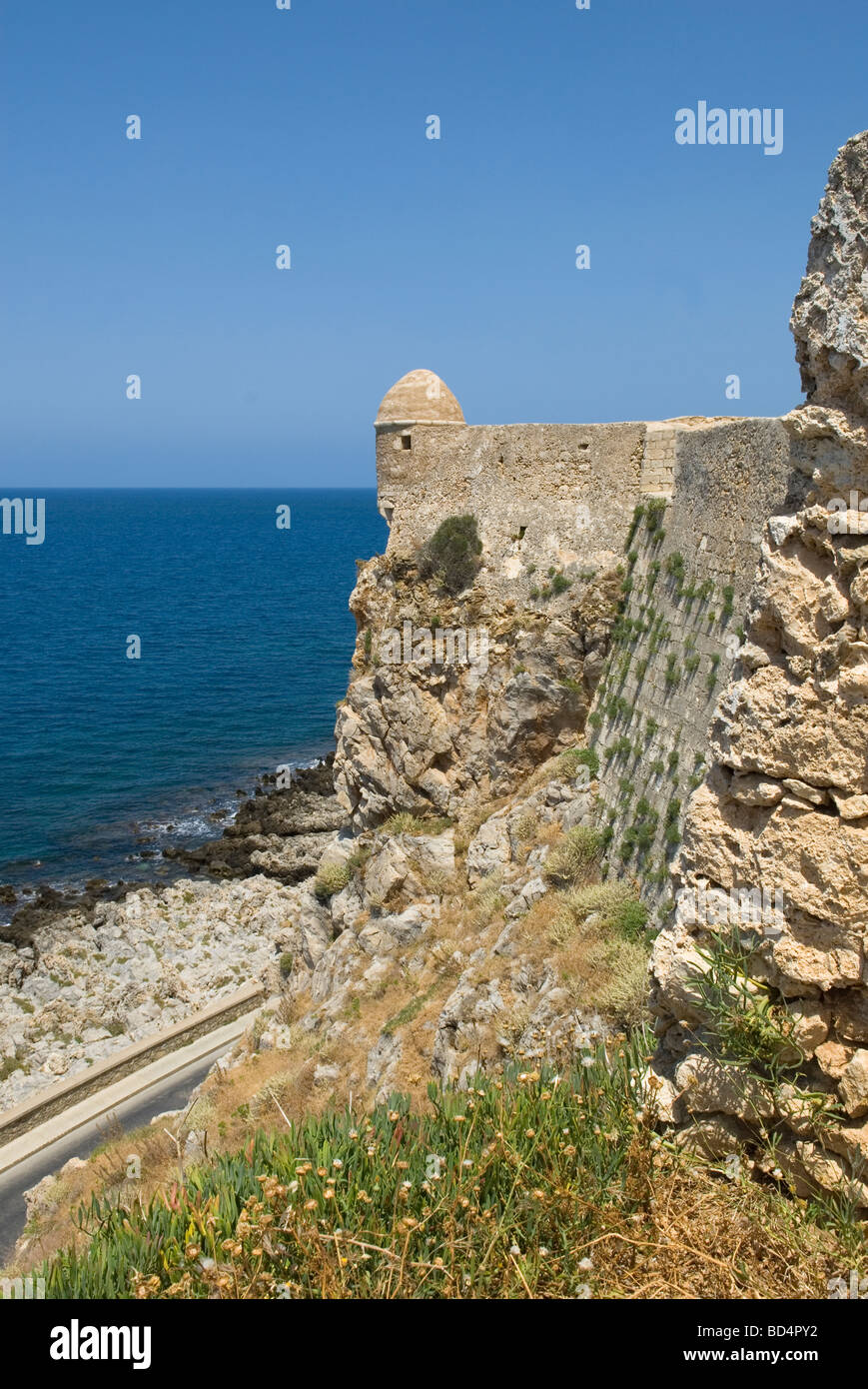 Part of the wall and turret at the Fortress Fortezza at Rethymnon Crete Stock Photo