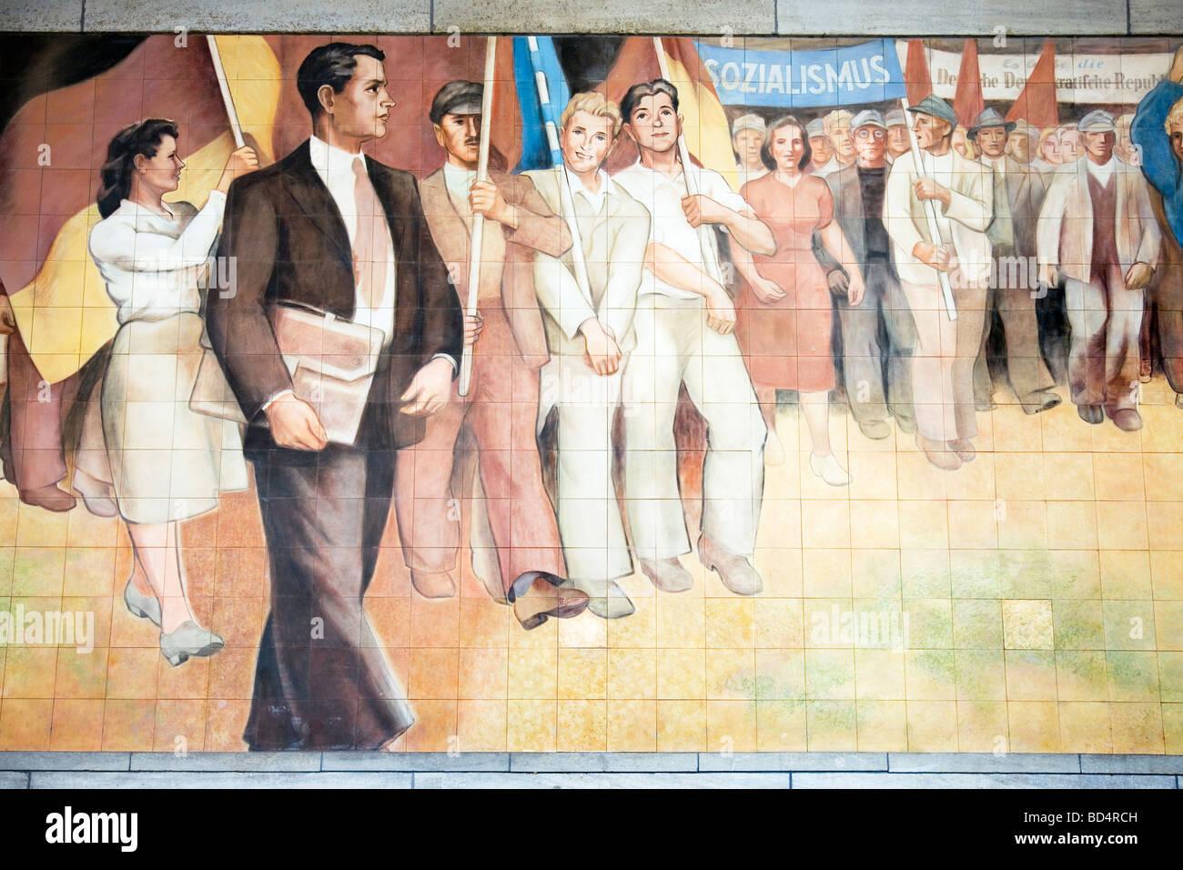 Mural -Aufbau der Republik by Max Lingneron German Finance Ministry, Wilhelmstrasse, Berlin, Germany - Stock Image
