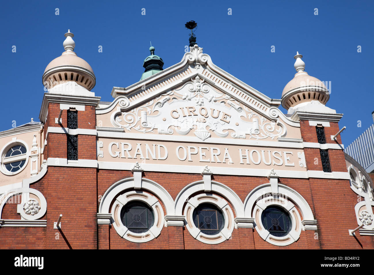Grand Opera House, ornate Victorian architectural detail, Belfast, Northern Ireland. Designed by Frank Matcham. - Stock Image