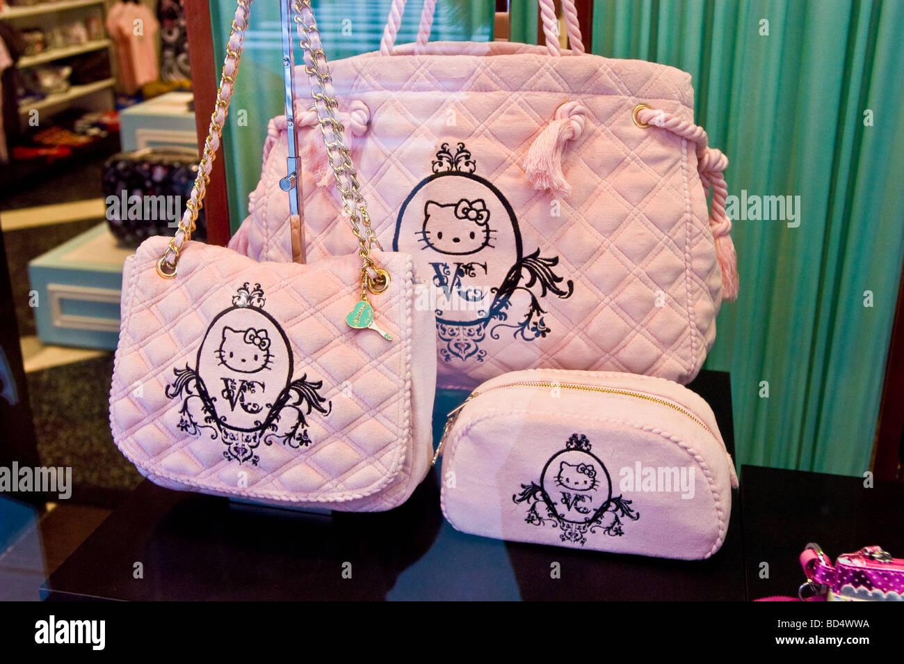 94422f85b Hello Kitty pink purses at Sanrio shop exhibition, 42nd Street, Manhattan,  New York, USA
