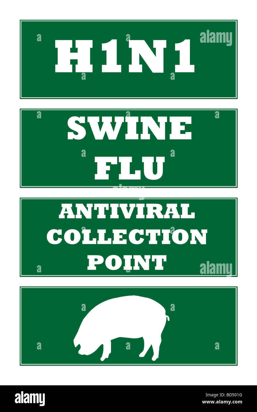 Set of four Swine Flu H1N1 virus road signs isolated on white background - Stock Image