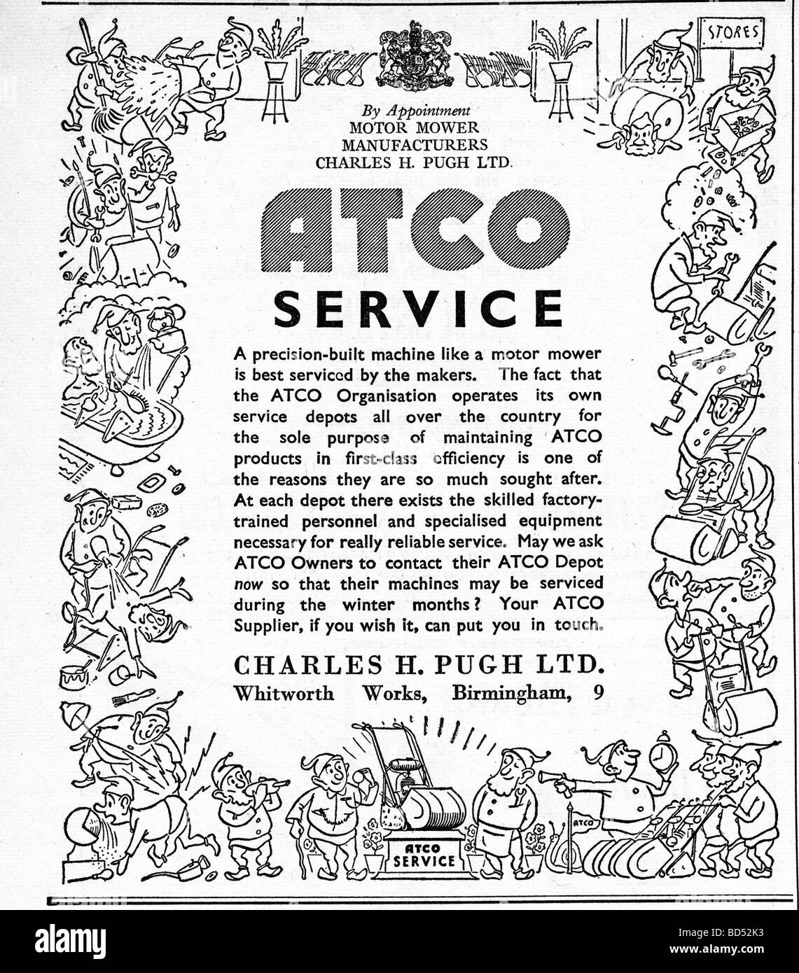 Atco lawnmower advert from 1951 - Stock Image