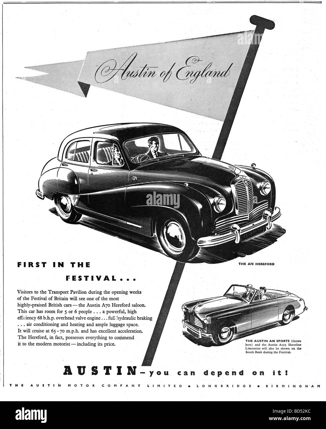 Austin car advert from 1951 - Stock Image