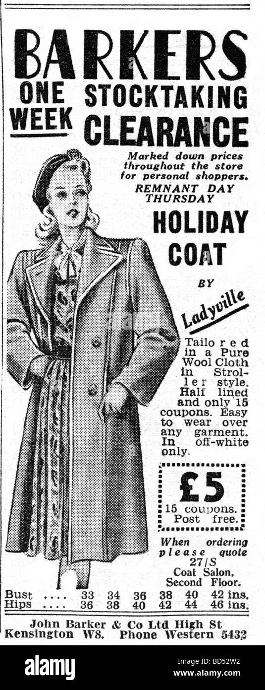 womens clothing advert advert from 1946 - Stock Image