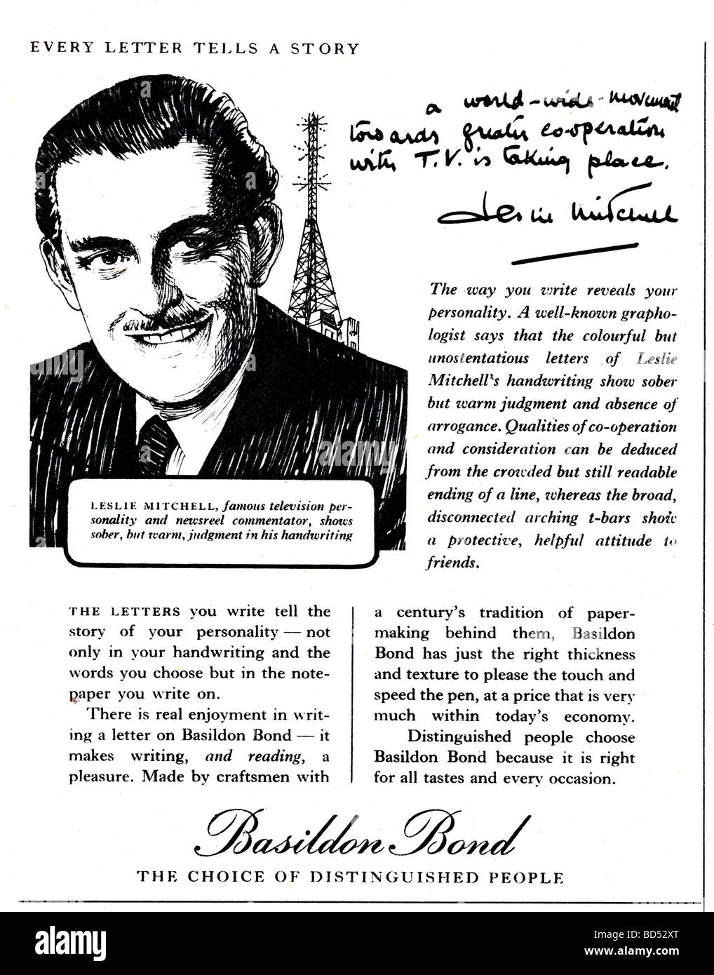 'Basildon Bond' advert from 1952 - Stock Image