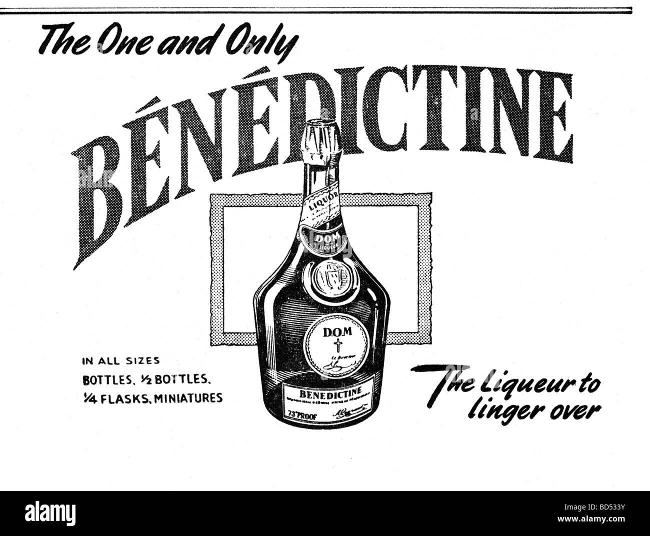 Benedictine liqueur drink advert from 1951 - Stock Image