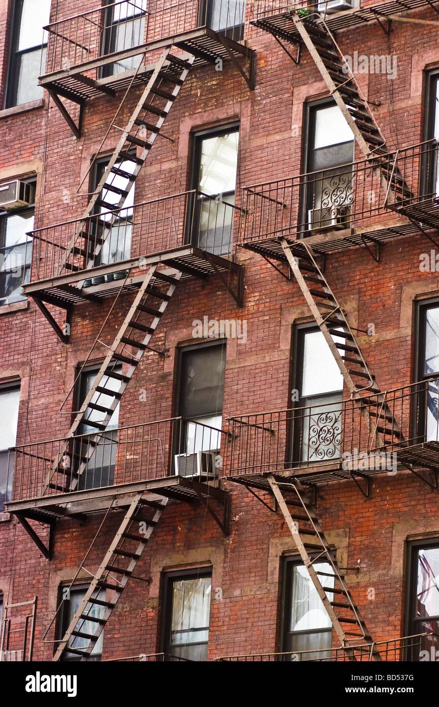Charming House With Metal Fire Escape Stairs Ladders, Manhattan, New York City, USA