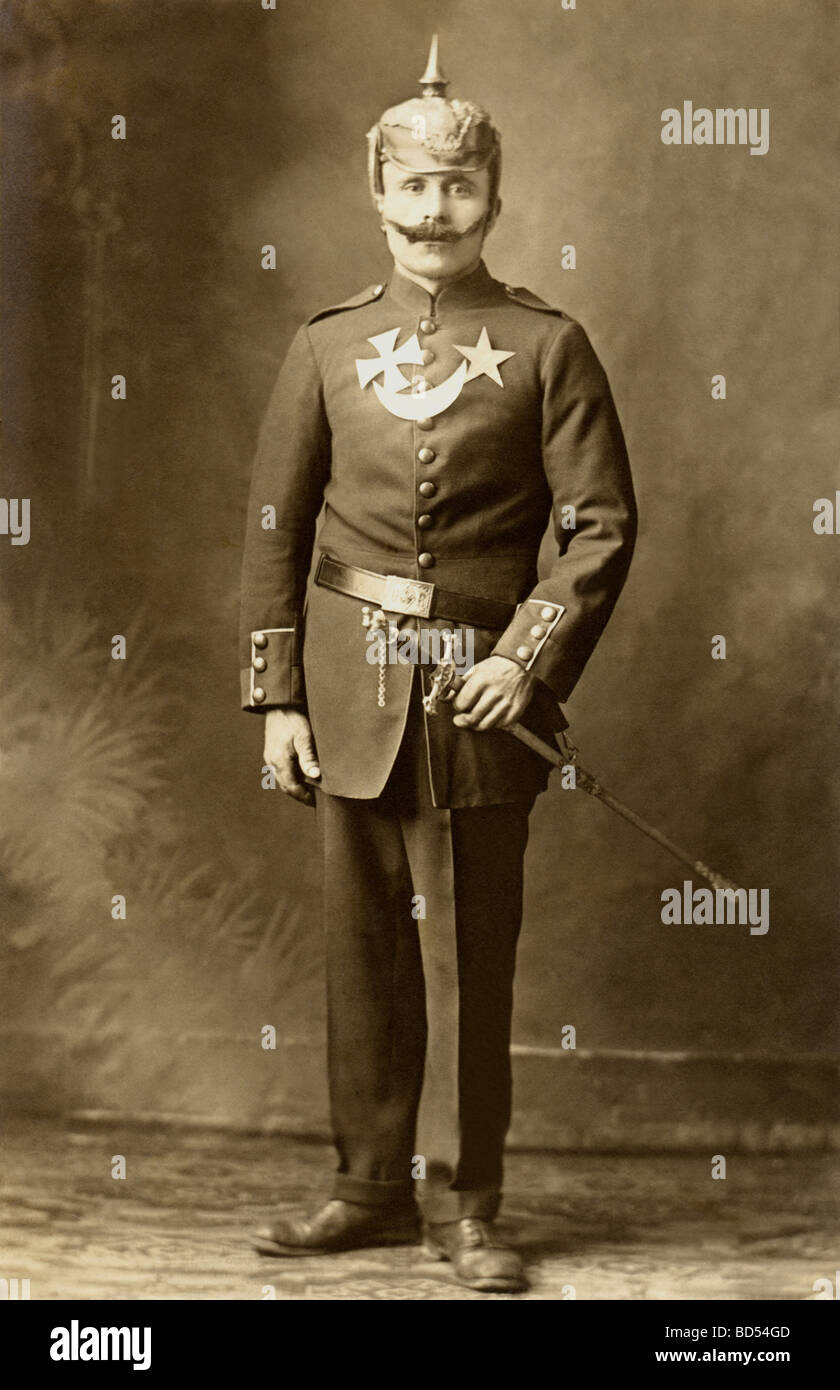 Man in Prussian Military Officer Costume - Stock Image