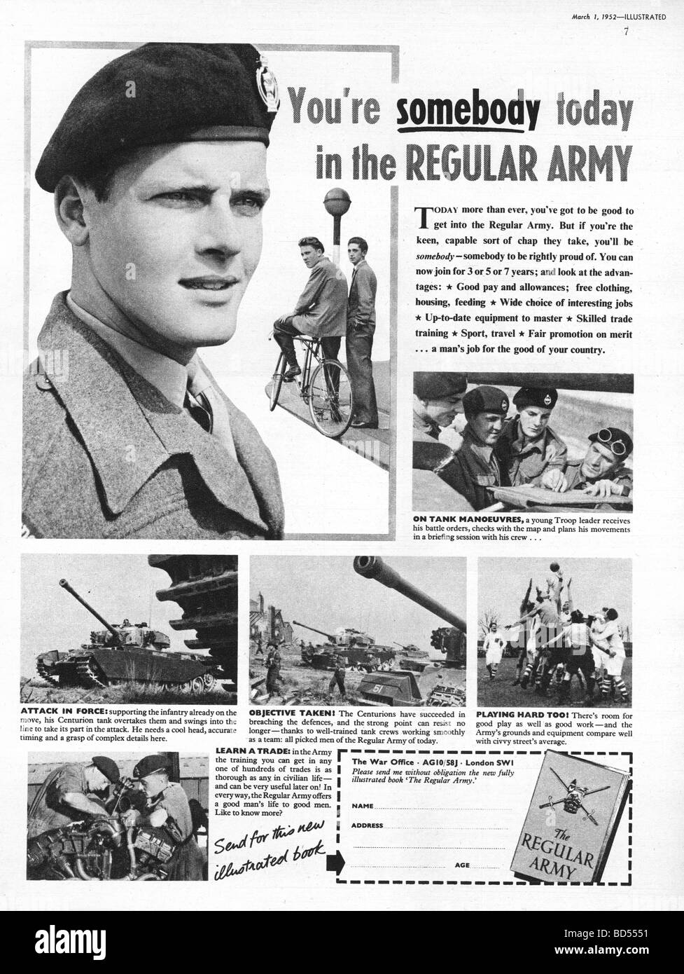 British Army recruitment advert from 1952 - Stock Image
