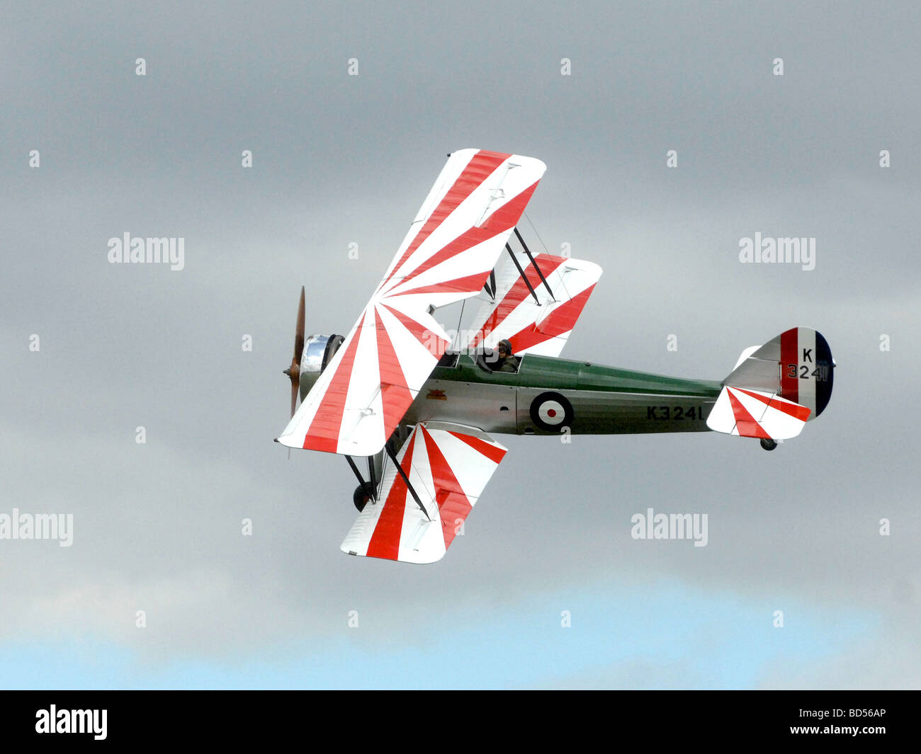 aviation military plane fly air wing tiger moth Stock Photo